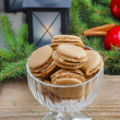 Parisian macaroons in christmas setting — Foto Stock