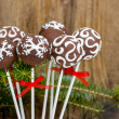 Chocolate cake pops. Copy space — Stock Photo