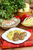 Schnitzels with potatoes — Stock Photo