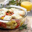Baked fish with vegetables. Popular mediterranean plate. — Stock Photo
