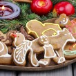 Gingerbread cookies on christmas eve table. Closeup. — Stock Photo #29858823