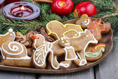 Gingerbread cookies on christmas eve table. Closeup. — Stock Photo