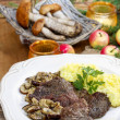 Stock Photo: Roasted beef with mushrooms