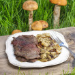 Roasted beef with mushrooms — Stock Photo