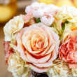 Bouquet of roses and carnations. Selective focus — Stock Photo