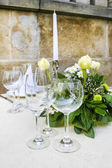 Summer outdoor party table — Stock Photo