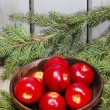 Stock Photo: Wooden bowl of apples