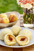 Apricots in pastry (Marillenknodel), traditional austrain dish. — Stock Photo