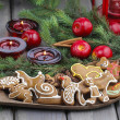 Gingerbread cookies on christmas eve table. Closeup. — Foto de Stock