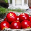 Stock Photo: Red apples in basket. Traditional christmas setting