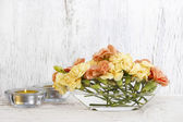 Floral composition made of fresh pastel carnation flowers — Stock Photo