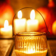 Oriental lantern on wooden table in evening. Selective focus — Stock Photo #30123249