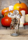 White cake pops decorated with dark chocolate. Orange pumpkins — Stock Photo