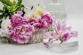 Stunning peonies in white wicker basket. Vintage decorative bird — Stock Photo