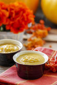 Creamy pumpkin soup on red table cloth. Rowan berry in the back — Stock Photo