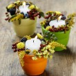Постер, плакат: Candle holder decorated with autumn flowers and other plants Se