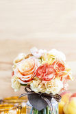 Bouquet of roses and carnations on wooden background. Copy space — Stock Photo