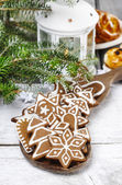 Christmas cookies on wooden tray. Selective focus — Stock Photo