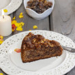 Stock Photo: Chocolate cake, beautiful party table setting with candles