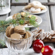 Parisian macaroons in christmas setting — Stock Photo