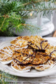 Sesame cookies on christmas eve table. Selective focus — Stock Photo