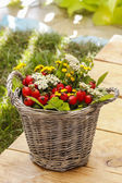 Bouquet of autumn plants in wicker basket. Garden party decor — Stock Photo