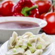 Постер, плакат: Red borsch with dumplings Traditional polish cuisine Selective
