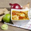 Tom yum kung is a simple and popular Thai hot and sour soup, fam — Stock Photo