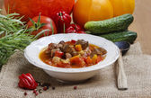 Hungarian goulash with meat and fresh vegetables — Stock Photo