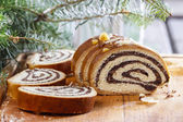 Poppy seed cake in christmas setting. Selective focus — Stock Photo