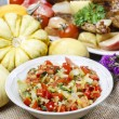 Bowl of fresh vegetable salad on jute table cloth — Foto de Stock