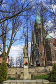 Parish church of Sucha Beskidzka and its surroundings. Gothic ar — Stock Photo