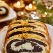 Poppy seed cake in golden christmas setting. Selective focus — Stock Photo #38632415