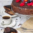Chocolate cake with strawberries. Birthday party table — Stock Photo #38635651