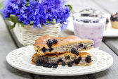 Piece of blueberry pie. Selective focus — Stock Photo