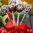 Chocolate cake pops in christmas setting — Stock Photo #38815119