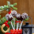 Chocolate cake pops in christmas setting — Stock Photo #38815211
