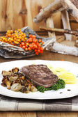 Roasted beef with mushrooms in autumn setting. Rowan berry — Stock Photo