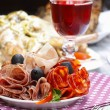 Delicious sliced ham. Party platter of assorted cured meats — Stock Photo #39023539