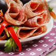 Delicious sliced ham. Party platter of assorted cured meats — Stock Photo #39023611
