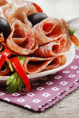 Delicious sliced ham. Party platter of assorted cured meats — Stock Photo