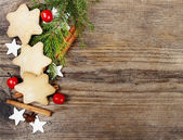 Christmas cookies on wooden background — Stock Photo
