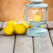 Beautiful classic lantern on wooden table. Copy space — Stock Photo #39070419