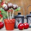 Chocolate cake pops in christmas setting — Stock Photo #39133185
