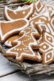 Christmas cookies in wicker basket. Selective focus — Stock Photo