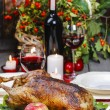 Stock Photo: Roasted goose in autumn setting