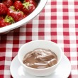 Creamy chocolate pudding on checkered red and white table cloth. — Stock Photo