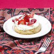 Delicious strawberry cake on party table. Copy space — Stock Photo