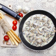 Stock Photo: Agaricus mushroom sauce in frying pan