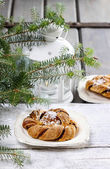 Festive braided bread on wooden table. Beautiful christmas set — Stock Photo